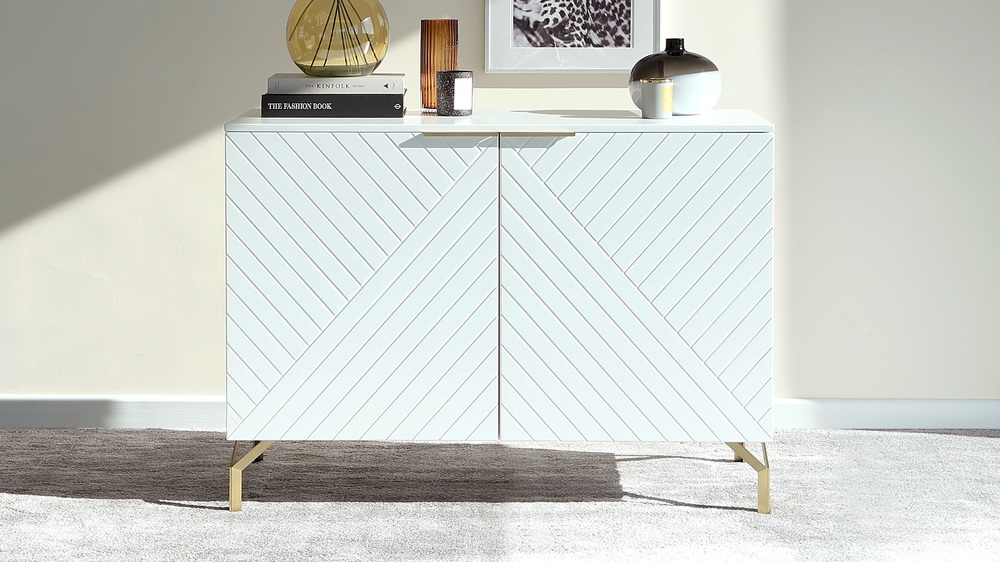 Geo Matt White Textured Sideboard
