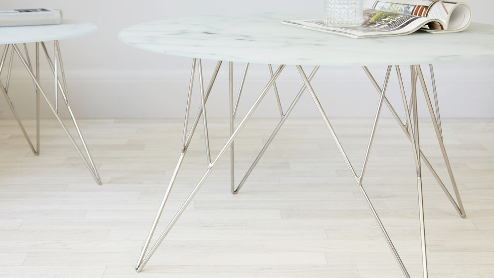 Stylish Marble And Chrome Coffee Table