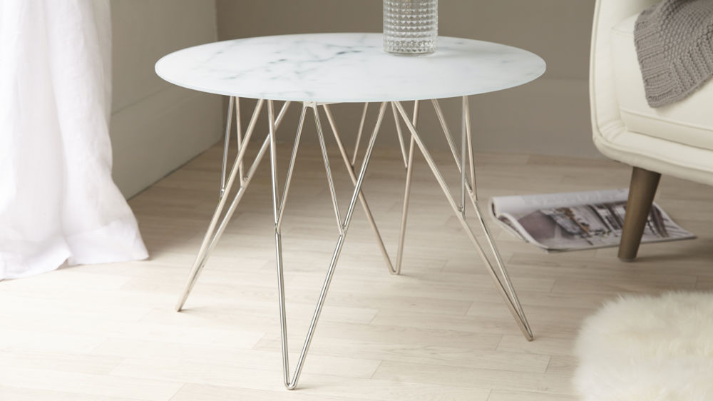 Modern Marble and Chrome Side Table UK Delivery - Marble Glass And Chrome Side Table Marble Effect UK