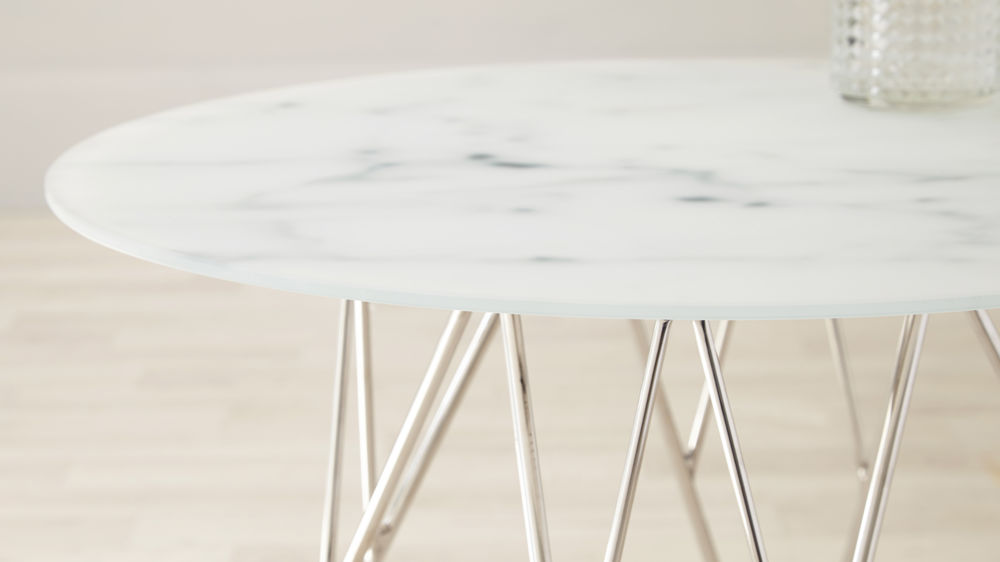 Round Marble and Chrome Side Table