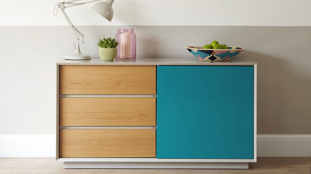 Contemporary Grey Gloss Teal Gloss and Oak Designer Sideboard Julia Kendell