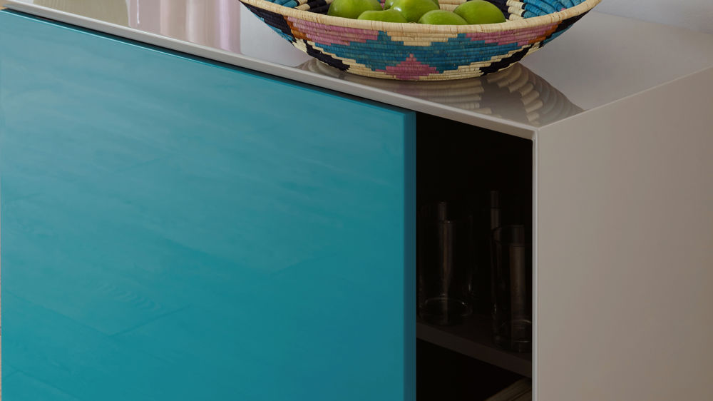 Contemporary Grey Gloss Peacock Gloss and Oak Designer Sideboard Julia Kendell