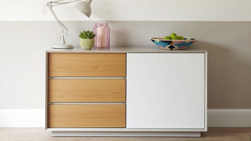 Contemporary White Gloss Grey And Oak Designer Sideboard Julia Kendell