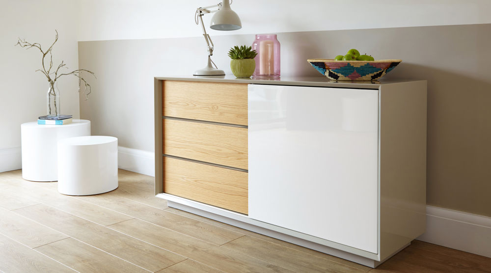 Modern Grey White And Oak High Gloss Sideboard Uk Delivery