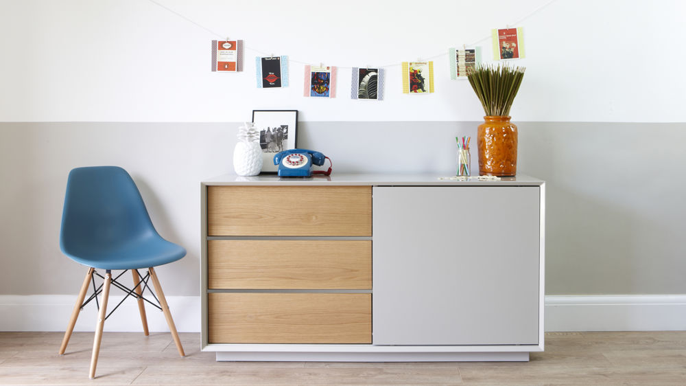 Modern White Gloss Grey Gloss and Oak Designer Sideboard Julia Kendell