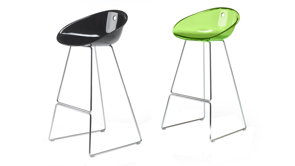 Black And Green Bar Stools With Chrome Base
