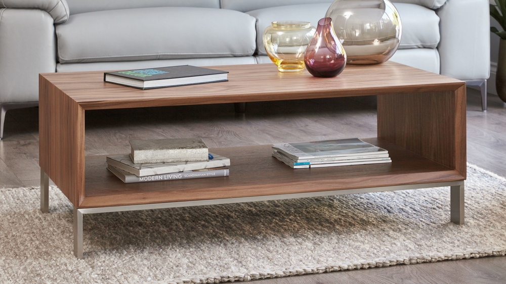 Walnut coffee table with storage
