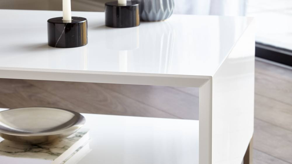 white gloss simple coffee table