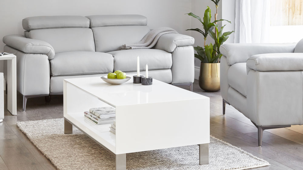 White gloss and brushed chrome large coffee table with shelf