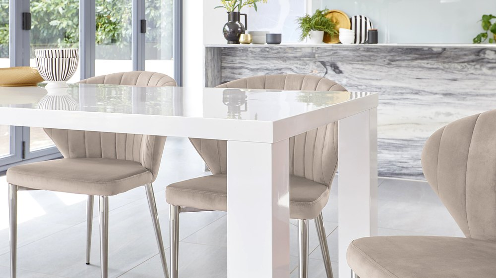 dining chairs in champagne velvet