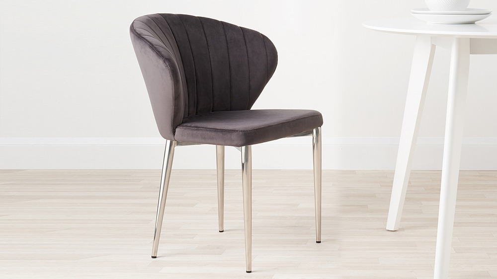 Dark grey arc deco velvet dining chair