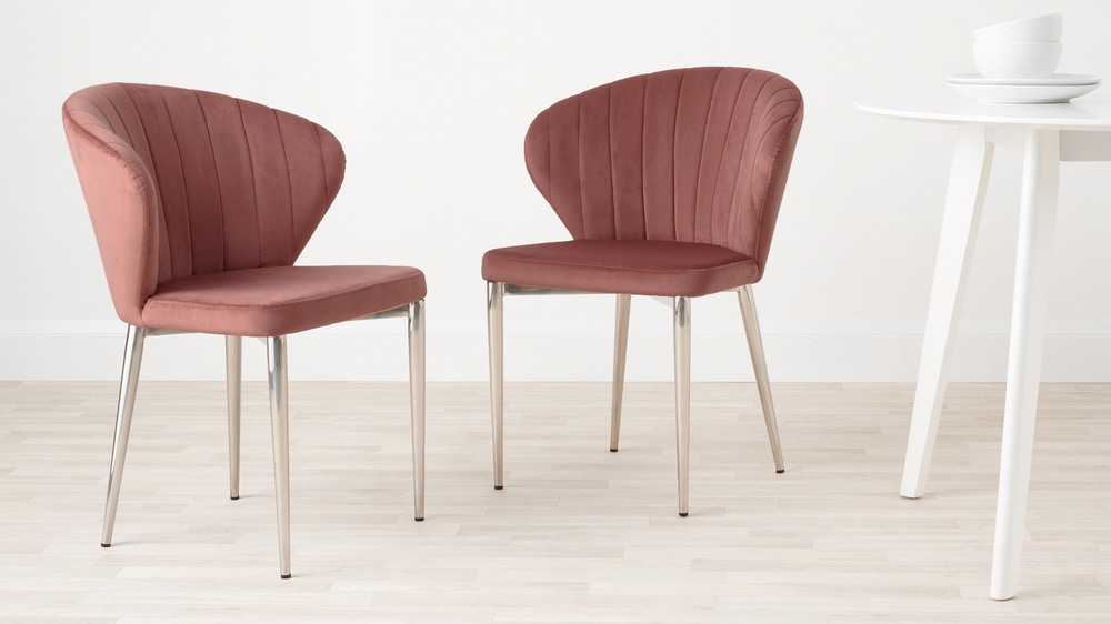 Pink velvet and chrome dining chairs