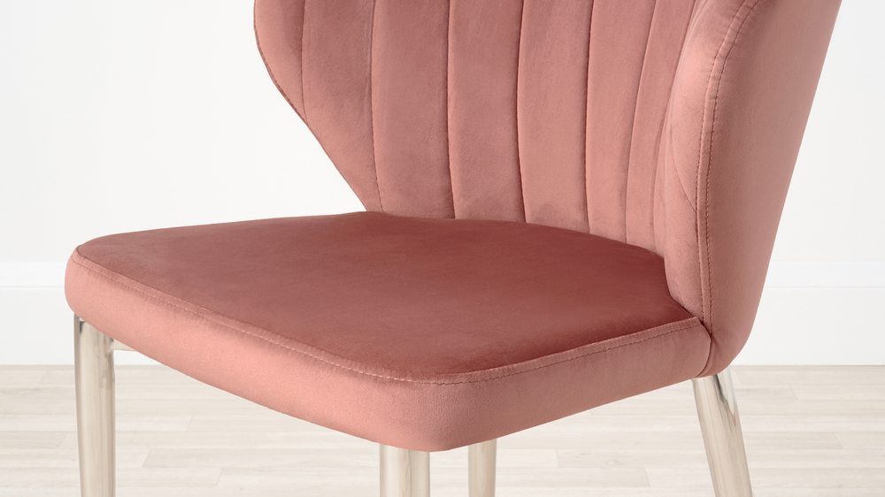Pink velvet shell chairs with chrome leg