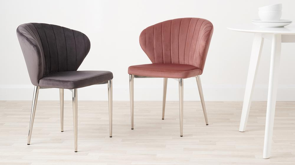 Pink and dark grey velvet dining chairs