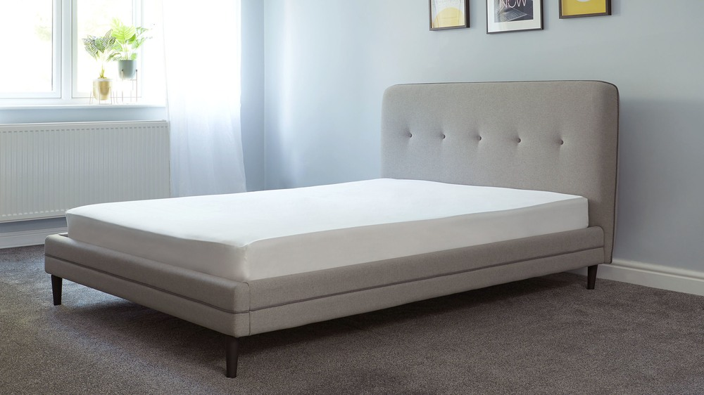 ash grey cushioned double bed