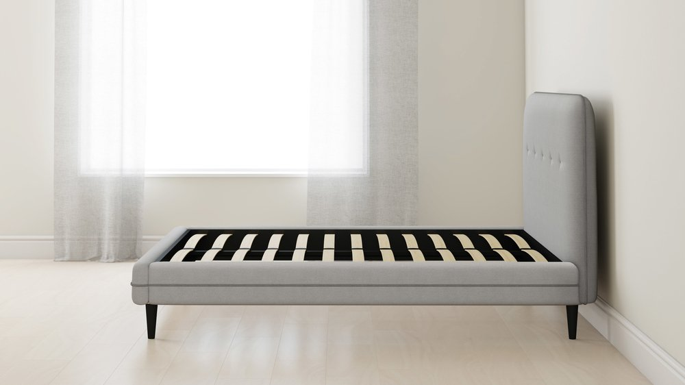 grey button detail king size bed