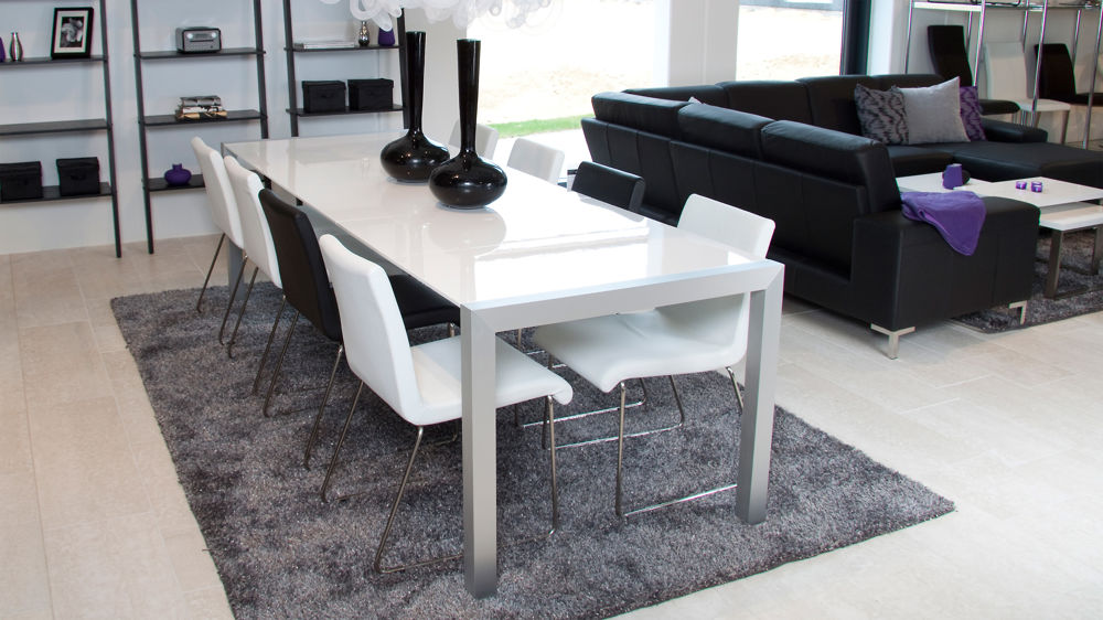 Modern Extending White Gloss Dining Table Aluminium Legs