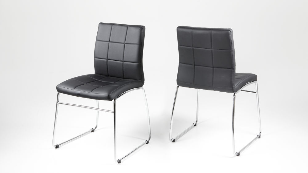 Modern Dining Chair Quilted Faux Leather Seat in Black  : hot dining chair 2 from www.danetti.com size 1000 x 562 jpeg 28kB