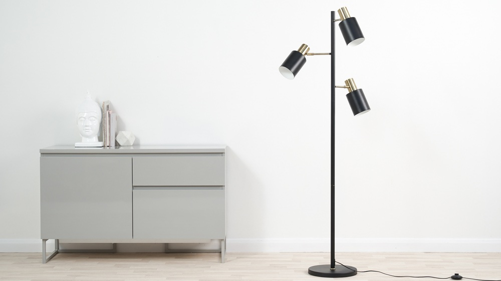Buy black and brass modern floor lamp