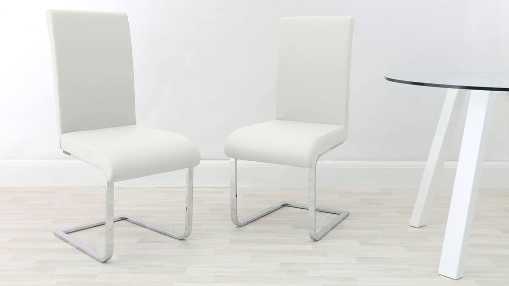 Chrome Legged White Dining Chair