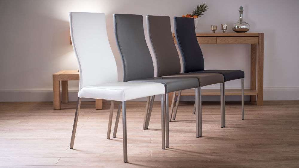 Modern Real Leather Dining Chairs Genuine Soft Leather Metal Legs
