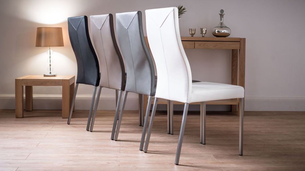 Modern real leather dining chairs genuine soft leather for Leather dining chairs with metal legs