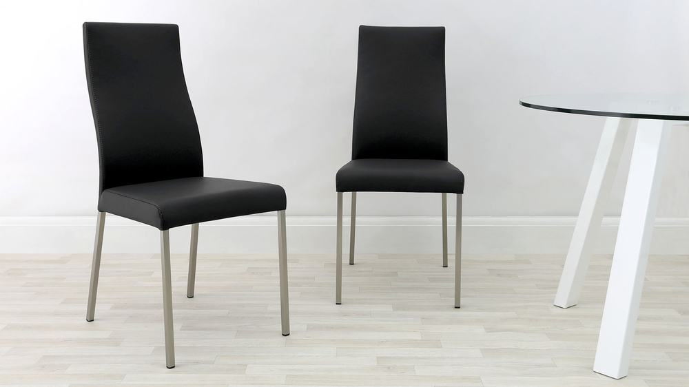 Real Leather Dining Chairs With Brushed Metal Legs