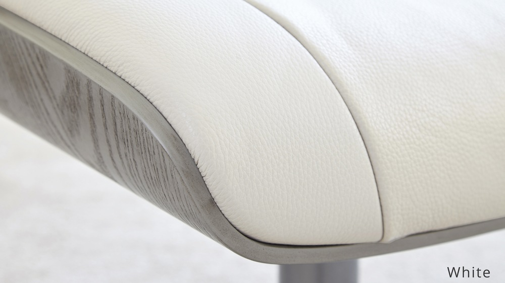White Leather Reclining Chair and stool | UK Delivery