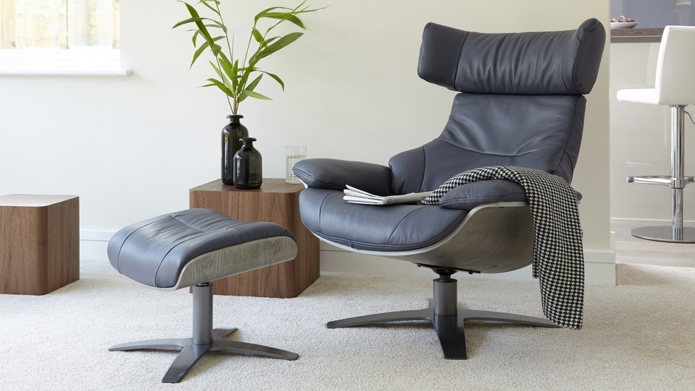 Karma Leather Armchair Recliner and Footstool | Danetti