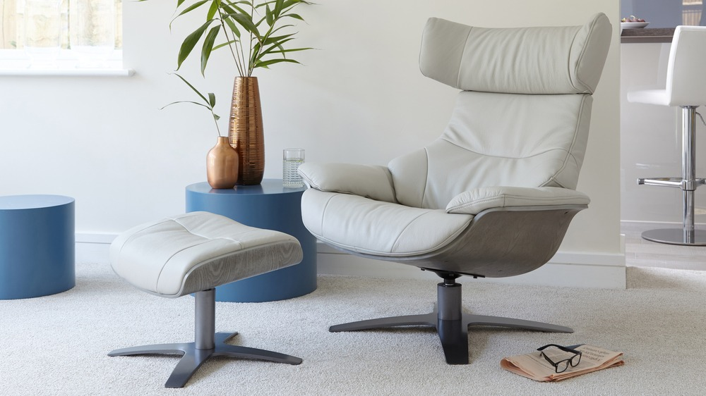Light Grey Leather Recliner and Footstool | UK Delivery