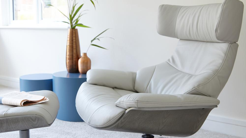 Modern Grey Leather Recliner and Footstool