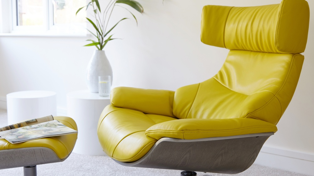 Yellow Leather Recliner and Footstool | UK Delivery
