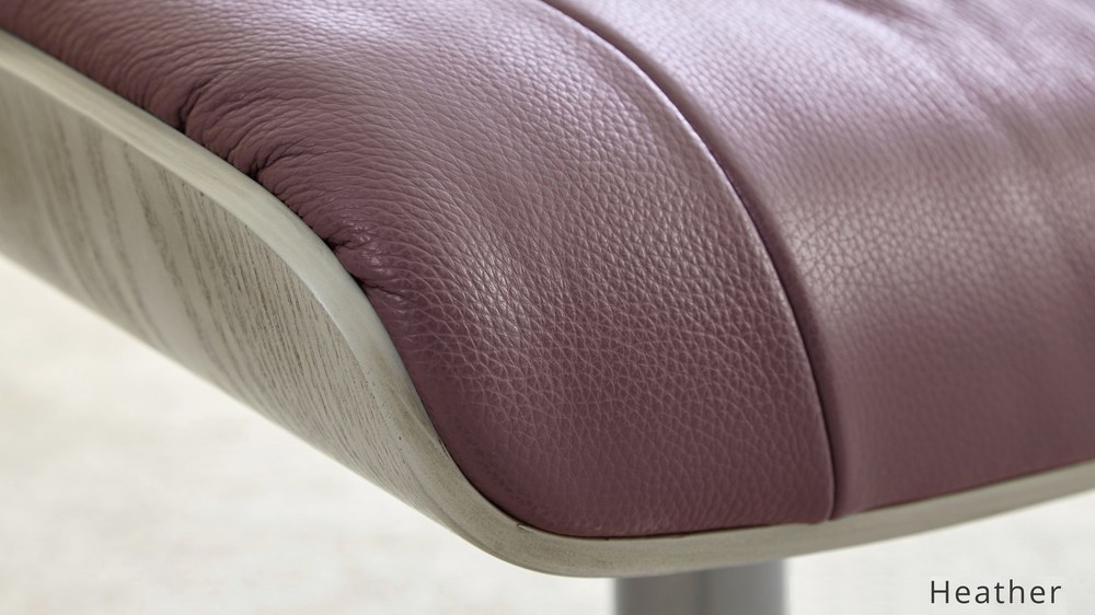 Purple Leather Reclining Chair and stool | UK Delivery