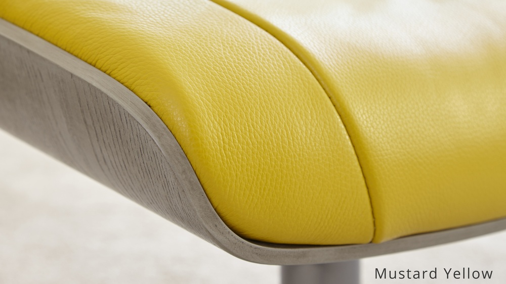 Mustard Yellow Real Leather Reclining Chair and stool | UK Delivery