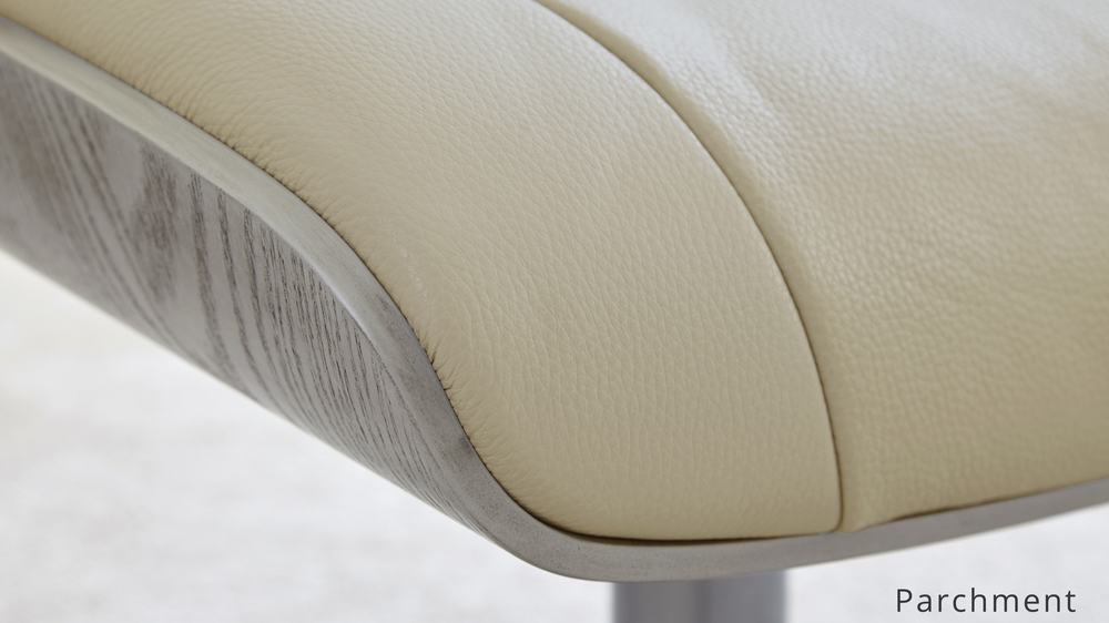 Cream Real Leather Reclining Chair and stool | UK Delivery