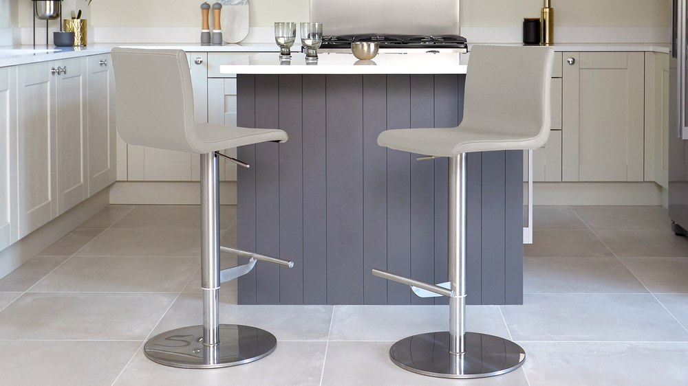 Cool grey real leather bar stools