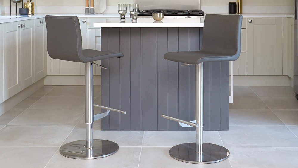 Dark grey leather bar stool