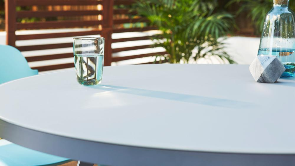 frosted glass weatherproof garden table