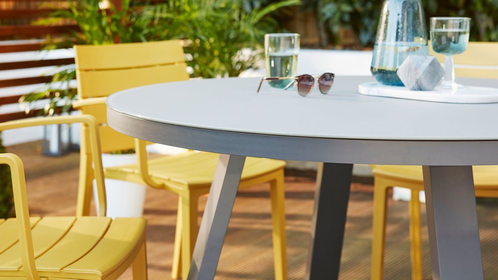Frosted glass round garden table