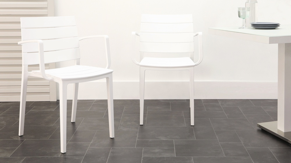 White stacking garden chairs