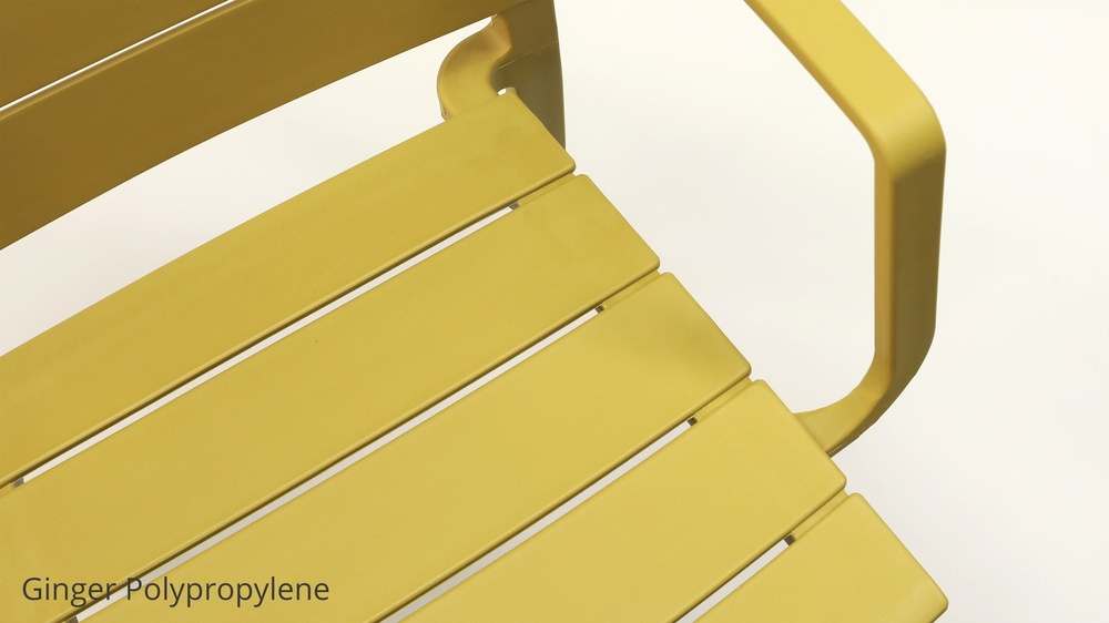 Yellow stacking outdoor chairs