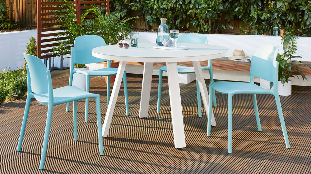 White Circular Garden Table