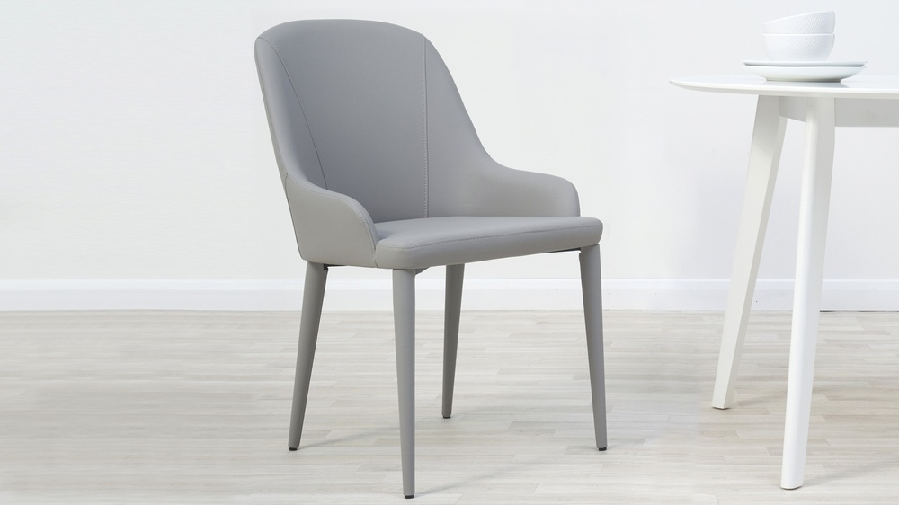 light grey faux leather chairs