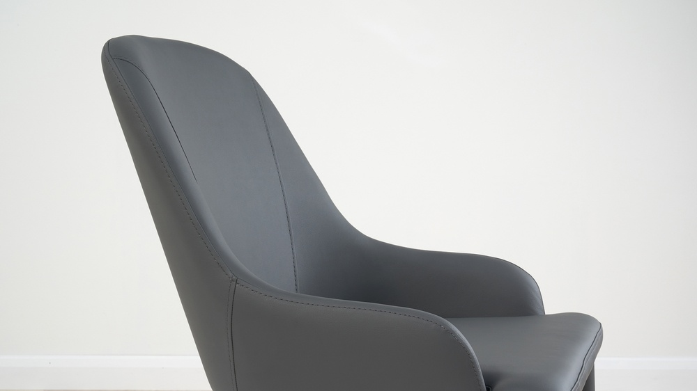 dark grey faux leather chairs