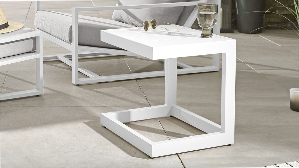 Modern white side tables for garden
