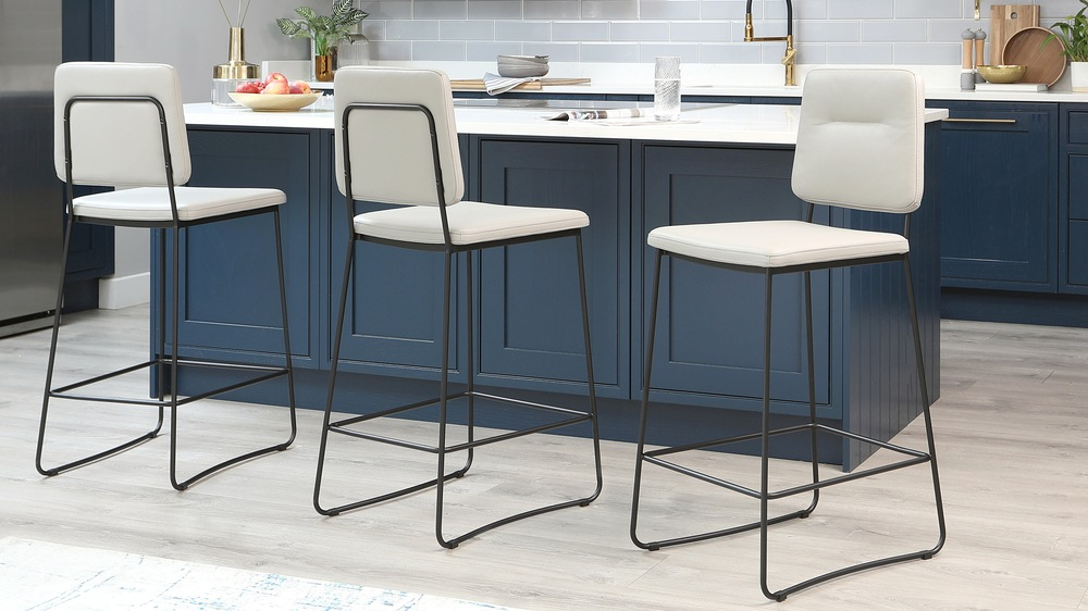 Lambert Cool Grey Leather Bar Stool