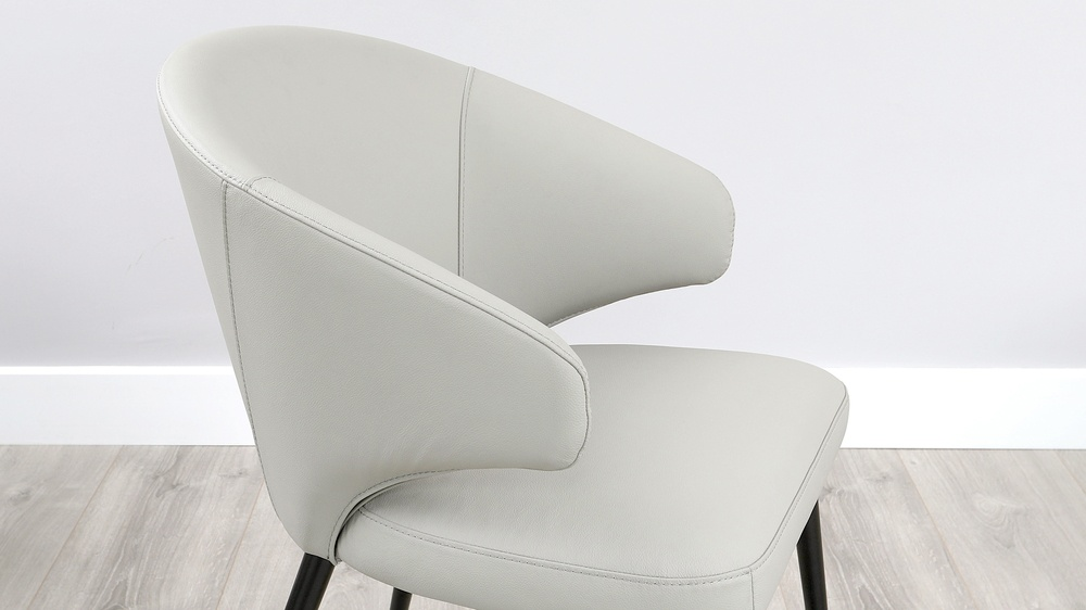 Landon grey leather dining chair