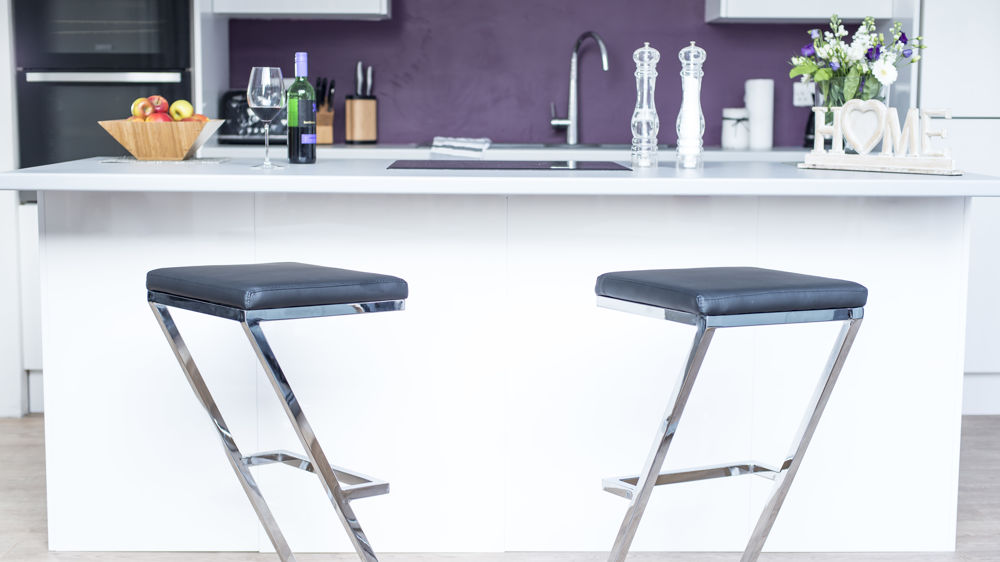Black and Chrome Fixed Height Bar Stools