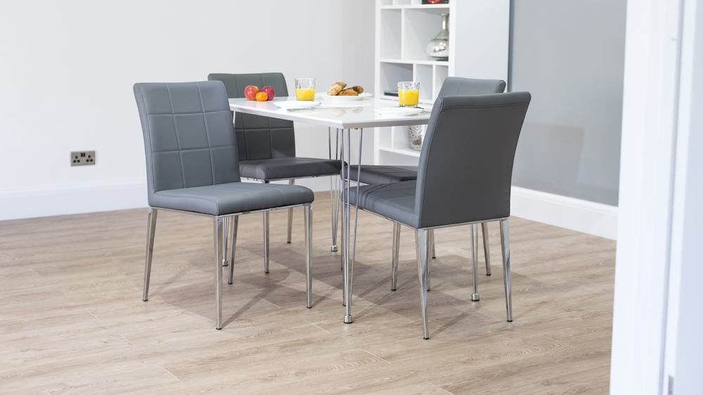 Grey and White Gloss Extending Dining Set