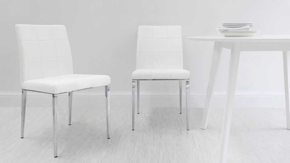 White Quilted Dining Chairs